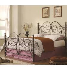 furniture iron headboard and footboard bed with scroll details