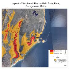 Maine State Map by Maps Maine Communities Affected Sea Level Rise