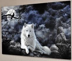 wolf pictures art ebay animal fantasy landscape white wolf canvas picture wall art prints a392