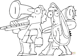 family is playing on trombone coloring page free printable