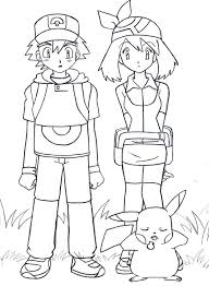 coloring page outstanding pokemon ash drawing may and pikachu by