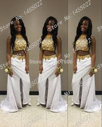 2 piece gold prom dress color dress style