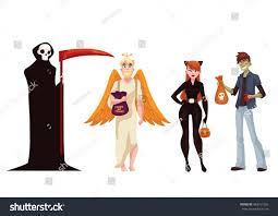 Typical Halloween Monsters by People Dresses Death Monster Angel Cat Stock Vector 483157363