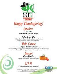 thanksgiving thanksgiving menu big fishurs 24th nov restaurant