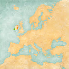 The Map Of Europe Ireland Irish Flag On The Map Of Europe The Map Is In Vintage
