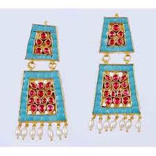 dangler earring fashion kundan earrings ii antique earrings gold plated