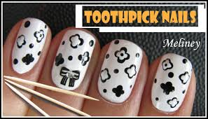 toothpick nails easy black u0026 white flower nail art design using
