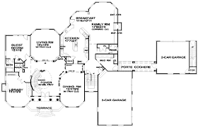 spacious european house plan with porte cochere 13453by