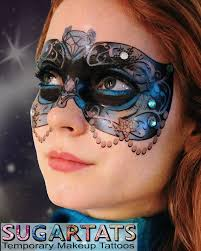 etsy blue carnival mask temporary makeup for