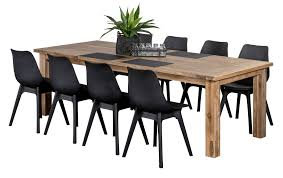 Plastic Outdoor Dining Sets Ancona Black  Seater Recycled Teak - Recycled outdoor furniture