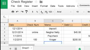 Make Spreadsheet Online Create A Check Register Using A Spreadsheet Youtube