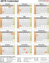2015 calendar with federal holidays excel pdf word templates