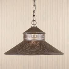 kitchen island shade light in punched tin with stars traditional
