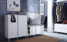 Pillow Top Bench Interior White Wardrobe Cabinet Solid Beige Rug Grey Pillow 2 Door