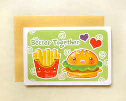 friendship cards hamburger and fries better together 4x6 notecard sweet