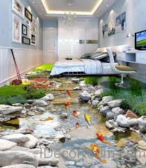 home interior business 3d fish floor decals wallpaper murals wall print