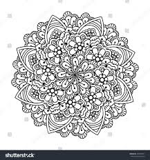 round element coloring book black white stock vector 406978291