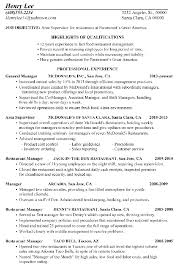 Restaurant Resume Samples Food Industry Resume Examples Resume Hr Cvs Entry Level