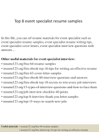 Sample Resume Yang Terbaik by Top8eventspecialistresumesamples 150408083357 Conversion Gate01 Thumbnail 4 Jpg Cb U003d1428500081
