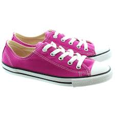 fuschia converse chuck taylor allstar dainty ox shoes in fuschia pink in