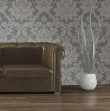 vintage elegant embossed glitter bedroom wallpaper gray silver