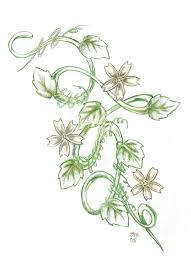 green ink vine flowers tattoo design by jesse
