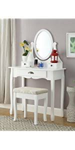 Vanity Table And Stool Set Amazon Com Roundhill Furniture Ashley Wood Make Up Vanity Table