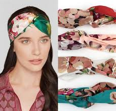 new stretch twist turban silk headband for women elastic flower
