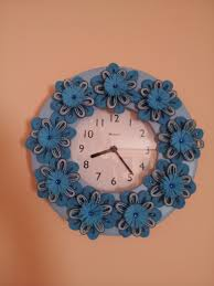 paper quilling decorated wall clock cd photo frame or clock