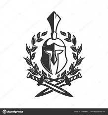 military symbol spartan helmet in laurel wreath u2014 stock vector