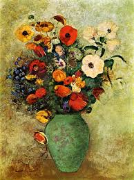 bouquet of flowers in a green vase odilon redon art