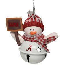 alabama crimson tide snowman bell with sign ornament sec store