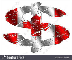 Canadian Flag Symbol Finance And Currency Grunge Canadian Dollar Stock Illustration