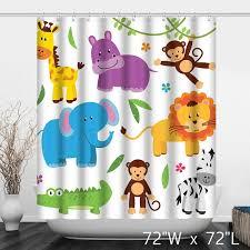 Animal Shower Curtains Animals Vector Print Shower Curtain Custom Shower