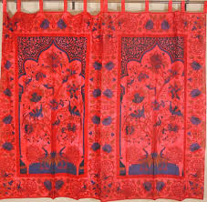 tree of life curtains peacocks print indian home decor tab red