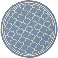 shop safavieh courtyard samana blue beige round indoor outdoor