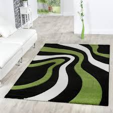 Schwarz Weis Wohnzimmer Bilder Designer Teppich Modern Kurzflor Wellen Muster In Grün Schwarz