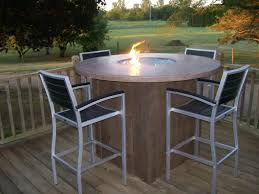 Fire Patio Table by Concrete Table With Fire Pit And Wooden Like Base