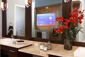 Tv In Mirror Bathroom by Built In Mirror With Tv Bathroom Television Also Silver Bathroom