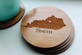 personalized wood coaster set of 4 custom engraved coasters