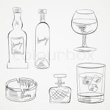 set of glasses and whiskey bottles stock vector colourbox