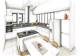 dessiner en perspective une cuisine dessin réalisé aux feutre d une cuisine contemporaine blanche plan