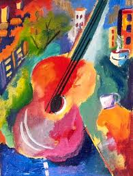beginners abstract turorial of art guitar with vibrant colors step