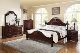 king poster bedroom set acme 21857ek gwyneth 4pcs cherry eastern king bedroom set