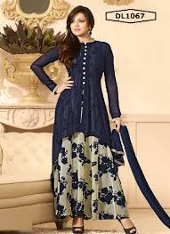 promis creation blue printed semi stitched fancy indo western