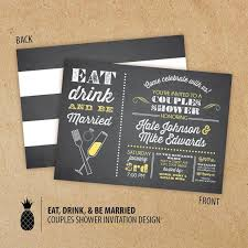 eat drink and be married invitations chalkboard inspired eat drink be married couples shower