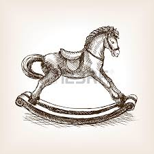 vintage rocking horse toy sketch style vector illustration old