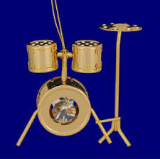 24k gold plated drum set ornament with crystals