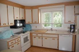 standing white stained wooden kitchen cabinet using cream butcher