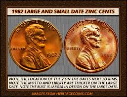 2 1982 d lincoln pennies small date or large date coin